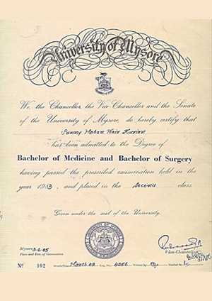 Certificate on Bachelor of Medicine and Bachelor of Surgery