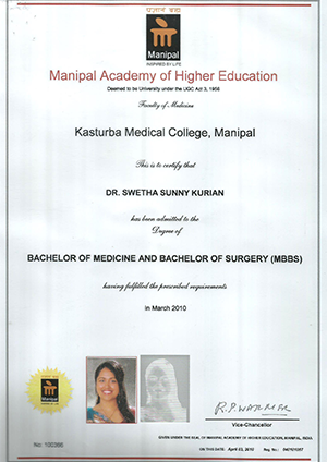 Dr Swetha Sunny Kurian - Manipal Academy of Higher Education Certificate