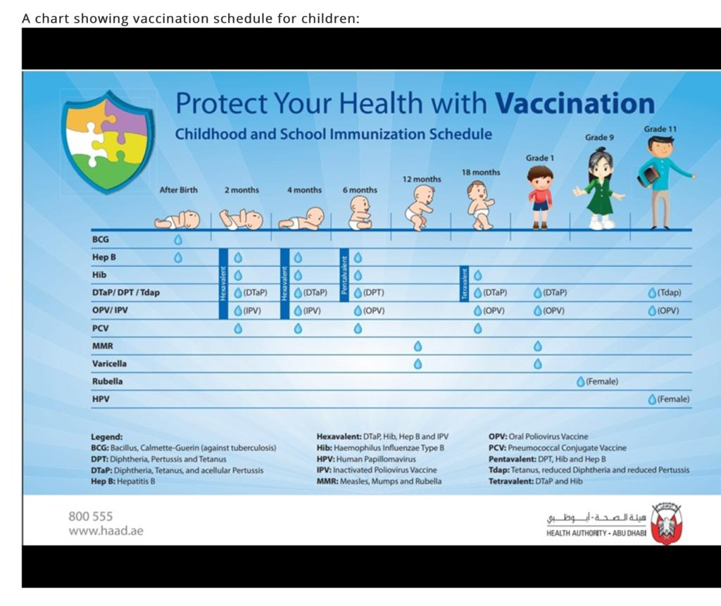 vaccination schedule for baby in sharjah